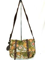 FOSSIL Multicolored Crossbody Computer Bag Bookbag Canvas With Leather Accents