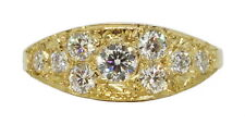 .68ctw E Vs right hand cluster ring New Lady's hand made 14k yellow gold diamond