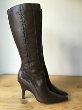 BRONX LADIES BROWN LEATHER KNEE HIGH BOOTS UK4 EU37