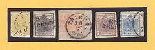 Österreich-MiNr.1-5 Y.II-Wappenzeichnung-1,2,3.6.9 Kreuzer-postalisch gebraucht