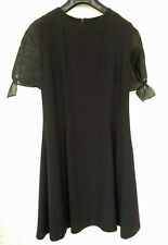 BRUCE OLDFIELD black dress with organza sleeves - as new - Size 16 (runs small)
