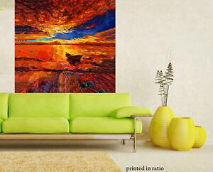 Sunset Painting landscape art orginal framed  canvas boat seascape seaside