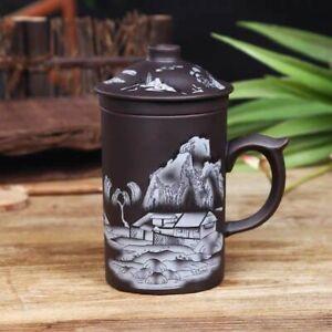 Handmade Yixing Dragon/beauty Purple Clay Tea Mug Lid Infuser Cup Water Gift