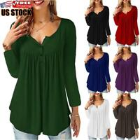 Womens Ruffle Round Neck Swing Tunic Blouse Button Pleated Shirt Long Sleeve Top