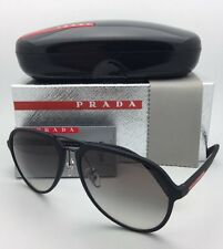 New PRADA Sport Sunglasses SPS 05R DG0-0A7 58-17 Black Rubber Aviator+Grey Fade
