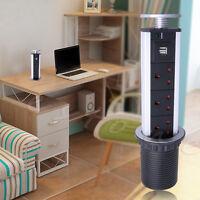pop up electrical power outlet socket 2 usb u0026 3 uk plugs kitchen desk worktop