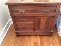 Late Victorian Eastlake Style, Marble Washstand, Wood Gallery, Knapp Joinery