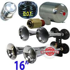 """12V 172 DB Quad Trumpet 16"""" Train Air Four Horn Kit 12 Volt Switch as shown"""