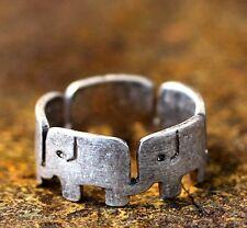 Retro Silver Tone Elephant Band Ring Unique Animal Theme 7.5 US Size Gift Idea