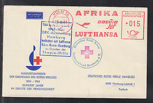 A-28) beautiful document Skopje Help 1963 Red Cross, Africa