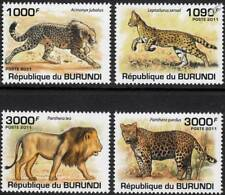 AFRICAN WILD CATS (Cheetah / Serval / Lion / Leopard) Stamp Set (2011 Burundi)