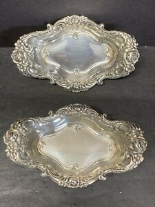Pair VTG Antique Wallace Solid .925 Sterling Silver 1000 Dish Server Royal Rose
