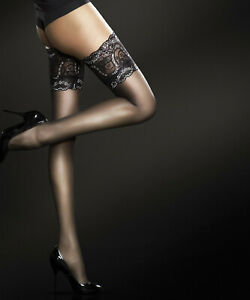 Fiore, Sandrine, Bas de nylon sexy autofixant fantaisie a jarretiere dentelle