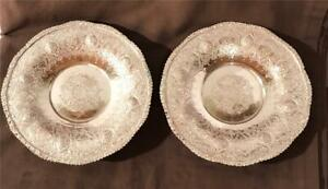 """2 Vintage 7"""" Persian Silver Alloy Footed Plates W/ Ornate Lotus Flowers Signed"""