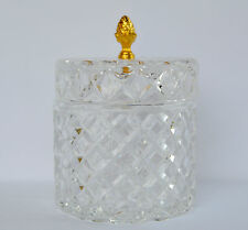 French Antique Ormolu Mold Glass Jewelry Casket Trinket Box Large Round