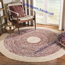 Round Handmade Hand Woven Natural Braided 270x270 CM Floor Jute Carpet Area Rugs