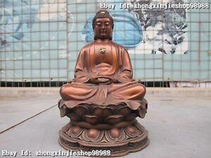 """10""""Tibet Folk Classical Red Bronze carve Sakyamuni Tathagata Buddha Statue"""