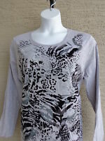 New Just My Size Graphic Cotton Blend L/S Scoop Neck Tee Top 3X Gray  Multi