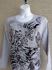 New Just My Size Graphic Cotton Blend L/S Scoop Neck Tee Top 2X Gray  Multi