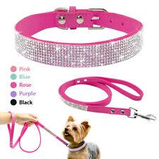 Pink Black Bling Rhinestone Soft Suede Dog Collar & Lead Set Diamante for Yorkie