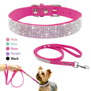 Pink Black Bling Rhinestone Soft Suede Dog Collar & Lead Set Diamante for Yorkie
