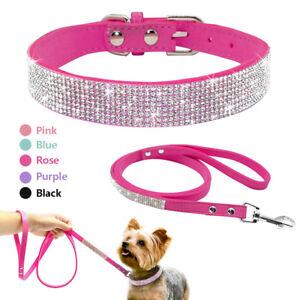 Soft Suede Leather Bling Rhinestone Dog Collar & Lead Set Puppy Pet Walking Lead