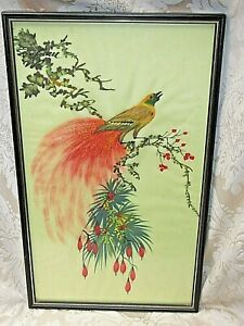 Antique Asian Oriental Silk Exotic Peacock BIRD Painting Picture Wood Frame