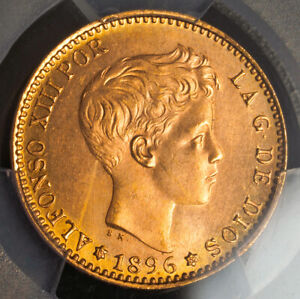 1896 (1962), Kingdom of Spain, Alfonso XIII. Gold 20 Pesetas Coin. PCGS UNC+