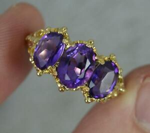 Victorian Design 9ct Gold and Amethyst Trilogy Cluster Ring