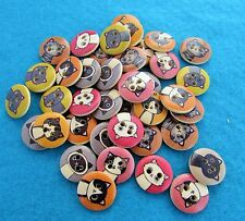Pack of 10 Wooden Cat Buttons Approx 1.5cm