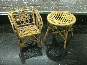 Vintage / Antique Wicker Doll Furniture Chair & Table Super Cute!!