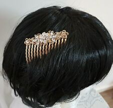 GOLD Coloured Metal Boho FLORAL Decorated Crystal HAIR COMB Accessory