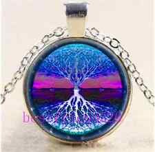 Energy Tree of Life Cabochon Glass Tibet Silver Chain Pendant Necklace