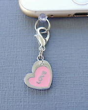 Heart Pink cell phone Charm Anti Dust proof Plug ear jack Fits iPhone C112