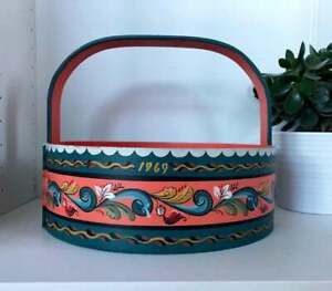 Large Vintage Norwegian Bentwood Basket with Rosemaling