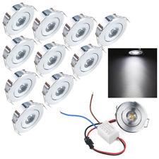 10 x 1W Mini LED Spot Encastrable au plafond plafonniers Cabinet lampe lumière