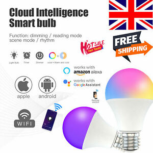 LED Wifi Smart Light Bulb 15W RGBW Colour Changing Lamp E27/B22 For Alexa Google