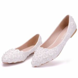 CQ Women Fashion Flat Flowers wedding bride Pointed Toe Crystal Party shoes