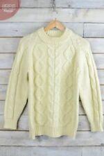 Maglioni e cardigan da donna beige in lana con girocollo