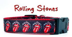 "Rolling Stones dog collar Handmade adjustable buckle collar 1""wide or leash Rock"
