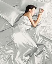 DELUXE Satin 4 teilige Bettwäsche 135x200 + Bettlacken +2x Kissenbez. SILBER NEU