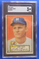 BOBBY HOGUE New York Yankees vintage 1952 Topps #9 red back SGC Graded: 3 (vg)