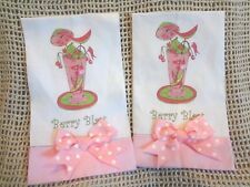 Cocktail Linen Kitchen Bar Towel ~ BERRY BLAST ~ Tropical Drink ~ Set of 2