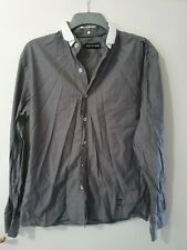 Religion 100% Cotton Long Sleeve Grey Shirt with Detachable Collar Size L