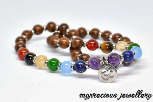 Natural Rosewood Bracelet Gemstone 27 Beads Wrap Chakra Om Stainless Steel Reiki