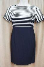 Evan Picone Dress Sz 10 Navy Ink Blue White Striped Knit Career Casual Sheath