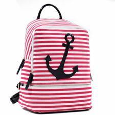 Women Handbag Canvas Backpack Travel Rucksack School Bags w/ Anchor Style