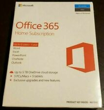 New Sealed Microsoft Office 365 Home 1 Year Subscription For 5 PCs & MACs