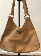 Authentic PRADA Vitello Daino Tan Sabbia Leather Hobo Tote Bag $1200