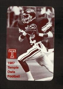 Temple Owls--1987 Football Pocket Schedule--WCAU/Miller Lite